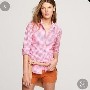NWT! J Crew Classic Fit Pink Gingham Button Down